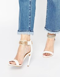 Forever Unique Totem Embellished Barely There Leather Heeled Sandals White
