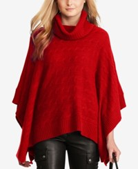 Polo Ralph Lauren Cable Knit Poncho Martin Red