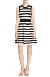 Women's Milly Sleeveless Pointelle Stripe Fit And Flare Dress