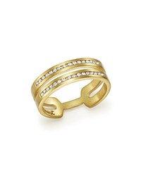 Meira T 14K Yellow Gold Double Row Open Band Ring With Diamonds