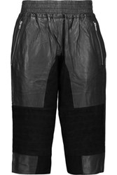 Oak Paneled Leather And Suede Shorts Black