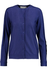 Pringle Cashmere And Silk Blend Cardigan Blue