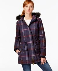 Tommy Hilfiger Faux Fur Trim Hooded Plaid Parka Plaid Multi