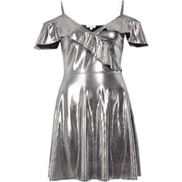 River Island Womens Silver Frilly Skater Dress