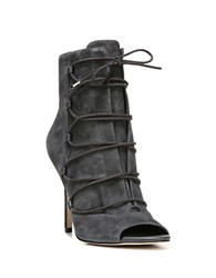 Sam Edelman Asher Lace Up Open Toe Booties Dark Grey