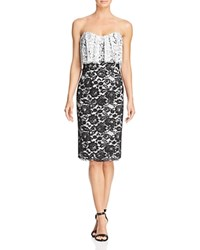 Black Halo Endora Strapless Lace Dress Black White