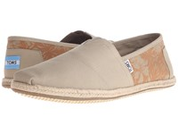 Toms Seasonal Classics Oxford Tan Hibiscus Canvas Men's Slip On Shoes Brown