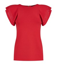 Ted Baker Zefori Frill Sleeve Knit Top Female Red