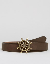 Asos Skinny Leather Belt With Nautical Buckle Brown