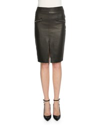 Tom Ford Leather Side Zip Pencil Skirt Black