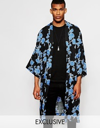 Reclaimed Vintage Floral Kimono In Mid Length Black