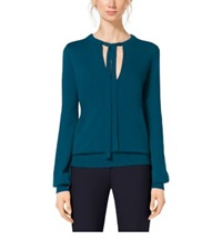 Michael Kors Tie Neck Wool And Cashmere Sweater Peacock