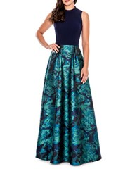 Decode 1.8 Sleeveless Fit And Flare Gown Navy Green