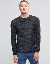 Blend Of America Crew Slim Knit Jumper Stripe Melange Black Black