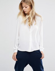 Vero Moda Stitch Detail Relaxed Shirt Snow White