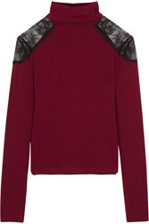 Alice Olivia Krystalle Lace Trimmed Stretch Knit Turtleneck Sweater Claret