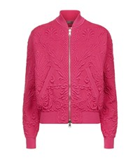 Alexander Mcqueen Jacquard Knit Bomber Jacket Female Pink