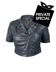 Forzieri Blue Motorcycle Cropped Leather Jacket