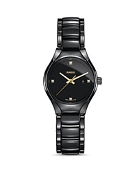 Rado True Quartz High Tech Ceramic Watch With Diamonds 30Mm Black