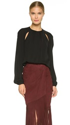 Tamara Mellon Side Keyhole Blouse Black