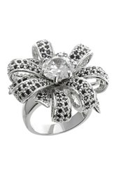 Cz By Kenneth Jay Lane Pave Cz Bow Ring Black