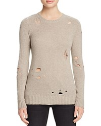 Aqua Cashmere Distressed Crewneck Cashmere Sweater Pebble