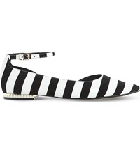 Dune Hustle Striped Leather Flats Black White Leather