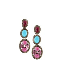 Bavna Composite Ruby Turquoise And Diamond Triple