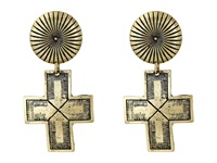 Gypsy Soule Ribbed Circle Dangle Cross Earrings Gold Earring