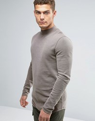Asos Longline Muscle Long Sleeve T Shirt With Turtle Neck In Waffle Fabric With Pigment Wash Purple