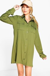 Boohoo Utility Shirt Dress Khaki