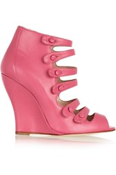 Oscar De La Renta Dakota Leather Wedge Sandals