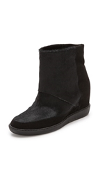 Vince Holly Suede Pony Booties Black