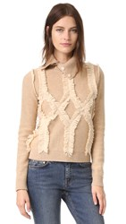 Jonathan Simkhai Shredded Argyle Turtleneck Nude