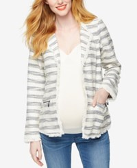 Willow And Clay Maternity Striped Tweed Blazer Cream Navy Stripe