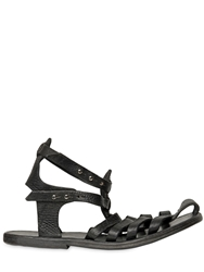 Dimissianos And Miller Handmade Grained Leather Cage Sandals Black