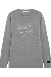 Bella Freud Close To My Heart Embroidered Merino Wool Sweater Gray