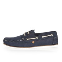 River Island Mens Navy Tumbled Leather Boat Shoes