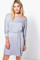 Boohoo Knot Front Slash Neck Shift Dress Grey