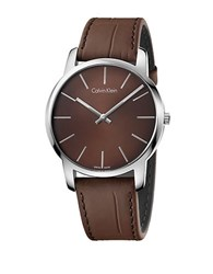 Calvin Klein City Stainless Steel And Brown Leather Strap Watch