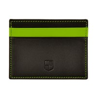 Huckle And Harper Black And Green Lambskin Card Holder Black Green