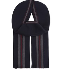The Kooples Pique Wool And Cotton Scarf Navy Burgundy