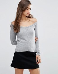 Asos Cardigan In Fine Knit Off Shoulder Shape Grey