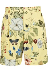 Gucci Printed Cotton Canvas Shorts Pastel Yellow