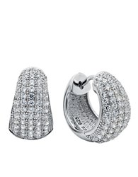 Crislu Huggables Platinum And Cubic Zirconia Medium Huggie Earrings Silver
