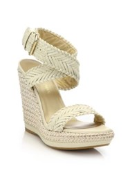Stuart Weitzman Elixir Braided Leather And Jute Wedge Sandals Off White