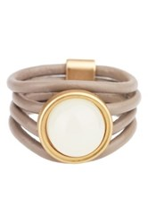 Saachi Taupe Full Moon Genuine Leather Ring Beige