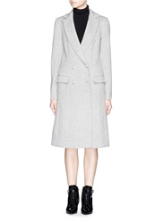 Nicholas Double Breasted Wool Cashmere Felt Long Coat Grey
