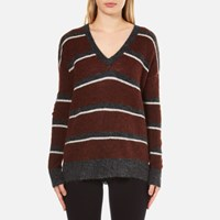 Gestuz Women's Obi Knitted Pullover With Striped Colours Burnt Henna Multi
