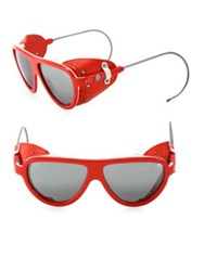 Moncler 57Mm Grommet Oval Sunglasses Red